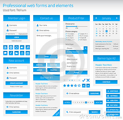 Free Professional Set Of Web Forms And Elements Royalty Free Stock Photography - 48737177