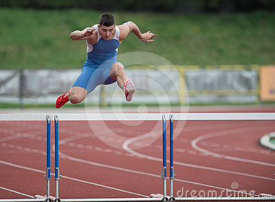 Professional sprinter jumping