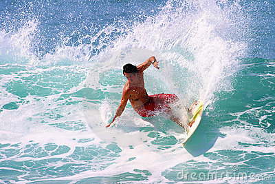 Professional Surfer Sean Moody Surfing in Hawaii Editorial Stock Photo