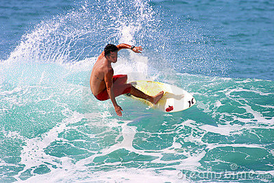 Professional Surfer Sean Moody Surfing in Hawaii Editorial Photo