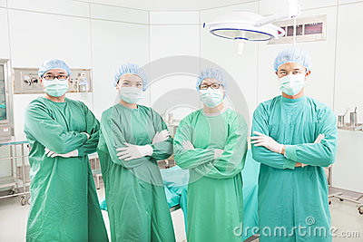 Professional surgeon teams standing in a surgical room