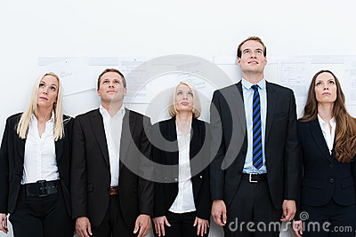 Professional team looking up