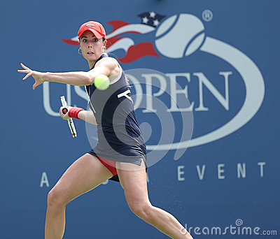Professional tennis player Alize Cornet during third round singles match at US Open 2013 Editorial Stock Image