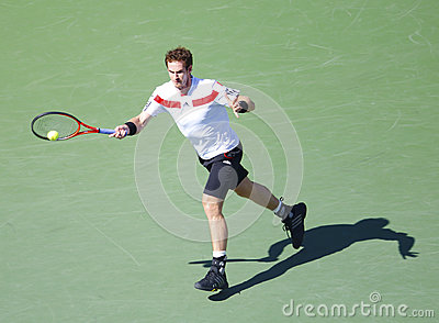 Professional tennis player Andy Murray during  quarterfinal match at US Open 2013 against  Stanislas Wawrinka Editorial Photo