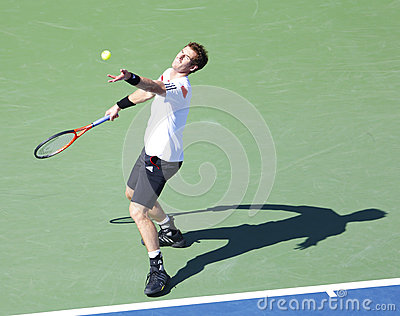 Professional tennis player Andy Murray during  quarterfinal match at US Open 2013 against  Stanislas Wawrinka Editorial Photography