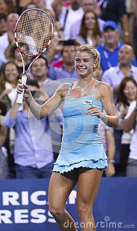 Professional tennis player Camila Giorgi during third round match at US Open 2013 against Caroline Wozniacki Editorial Photo