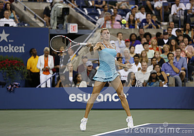 Professional tennis player Camila Giorgi during third round match at US Open 2013 against Caroline Wozniacki Editorial Photo
