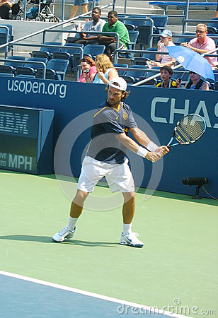 Professional tennis player Carlos Moya practices for US Open Editorial Photo
