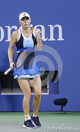 Professional tennis player Caroline Wozniacki during third round match at US Open 2013 against Camila Giorgi Editorial Image