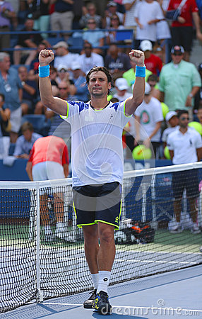 Professional tennis player David Ferrer after his win third round match at US Open 2013 against Mikhail Kukushkin Editorial Photo