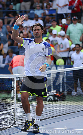 Professional tennis player David Ferrer after his win third round match at US Open 2013 against Mikhail Kukushkin Editorial Photography