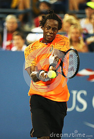 Professional tennis player Gael Monfils during second round match at US Open 2013 against John Isner Editorial Stock Image