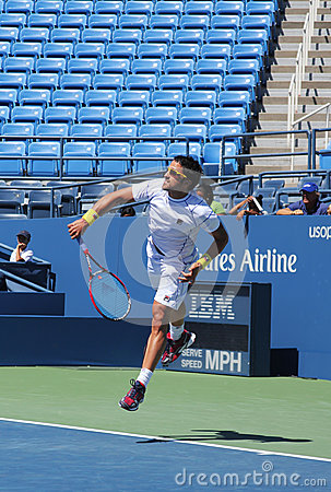 Professional tennis player Janko Tipsarevic practices for US Open 2013 at Billie Jean King National Tennis Center Editorial Stock Image