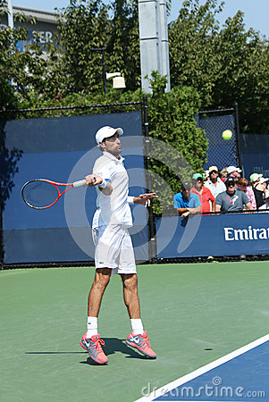 Professional tennis player  Jeremy Chardy from France during first round match at US Open 2013 Editorial Stock Photo