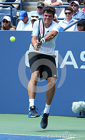 Professional tennis player  Milos Raonic during first round singles match at US Open 2013 Editorial Photography