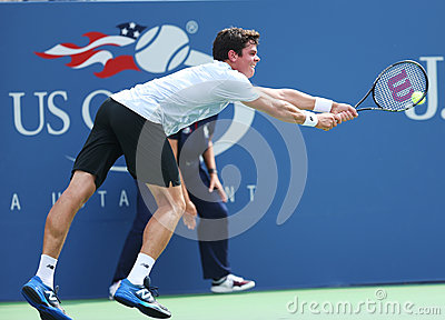 Professional tennis player  Milos Raonic during third round singles match at US Open 2013 Editorial Stock Image
