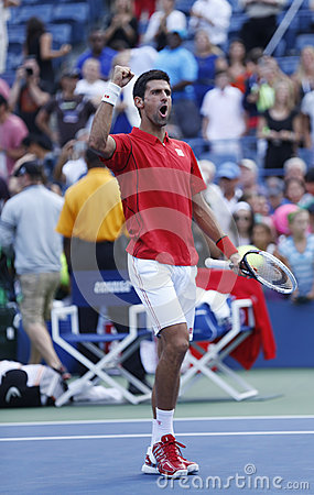 Professional tennis player Novak Djokovic celebrating victory after fourth round match at US Open 2013 against Marcel Granollers Editorial Stock Photo