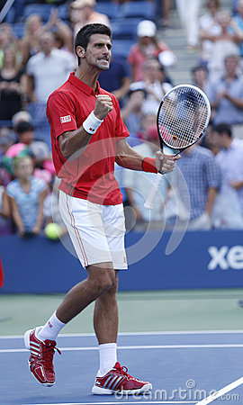Professional tennis player Novak Djokovic celebrating victory after fourth round match at US Open 2013 against Marcel Granollers Editorial Photography