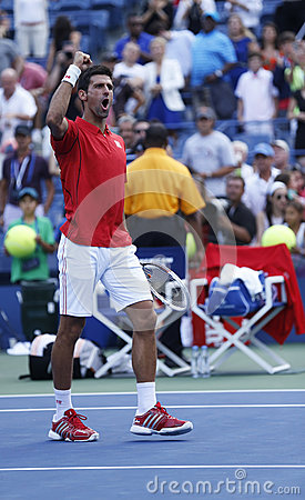 Professional tennis player Novak Djokovic celebrating victory after fourth round match at US Open 2013 Editorial Stock Image
