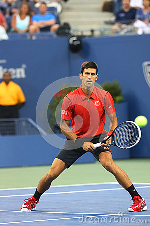 Professional tennis player Novak Djokovic during  first round match at US Open 2013 against Ricardas Berankis Editorial Photo