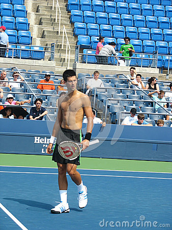 Professional tennis player Novak Djokovic practices for US Open Editorial Photo