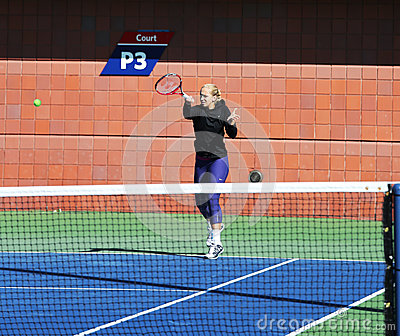 Professional tennis player Sabine Lisicki practices for US Open 2013 at Billie Jean King National Tennis Center Editorial Photo