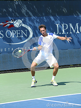 Professional tennis player Sergiy Stakhovsky from Ukraine during first round match at US Open 2013 Editorial Stock Image
