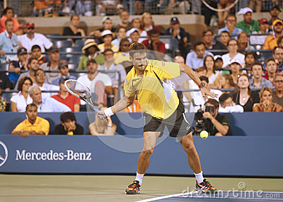 Professional tennis player Tommy Robredo during fourth round match at US Open 2013 against Grand Slam champion Roger Federer Editorial Photo