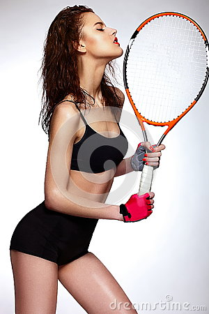 Professional tennis player woman model with bright