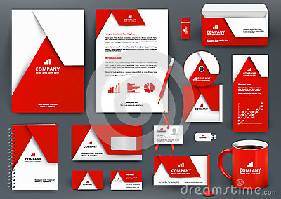 Professional universal red branding design kit with origami element. Vector Illustration