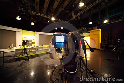 Professional video camera in television studio