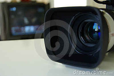 Professional video camera with a TV monitor