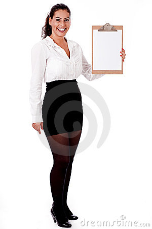 Professional woman holding blank Clip board