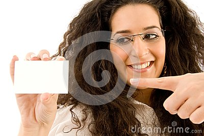 Professional woman pointing at business card