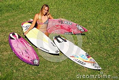 Professional Woman Surfer Cecilia Enriquez Editorial Photography
