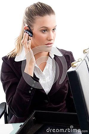 Professional woman wearing bluetooth