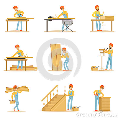 Free Professional Wood Jointer At Work Crafting Wooden Furniture And Other Construction Elements Vector Illustrations Stock Photos - 85595993