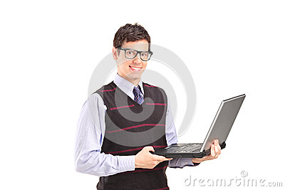 Professional young man holding a laptop