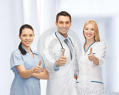 Professional young team or group of doctors