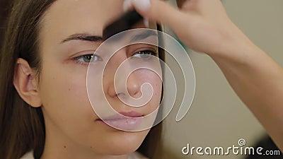 Professioneller Make-up-Künstler verwendet Stiftungscreme mit Pinsel auf der Vorderseite des Kunden stock video footage