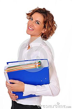 Professionista femminile di affari con la In-mano del raccoglitore