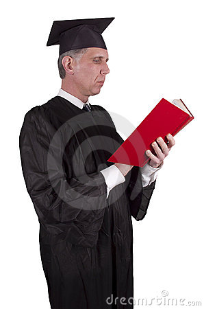 Professor Teacher Reading Book Isolated