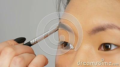 Profi-Makeup-Künstler malt Augenbrauen auf das Gesicht eines asiatisch-koreanischen Frauenmodells mit spezieller Bürste stock video