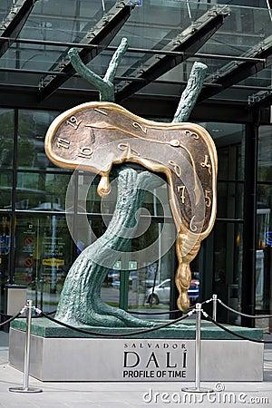 Profil för SalvadorDali skulptur av tid Redaktionell Foto