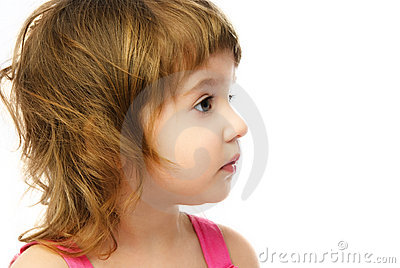 Profile of an adorable caucasian girl