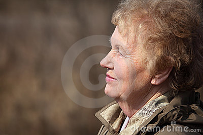 Profile of aged woman
