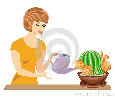Profile of a beautiful girl. The lady cares about the colors of the room, cacti. The woman poured them out. Vector illustration Cartoon Illustration