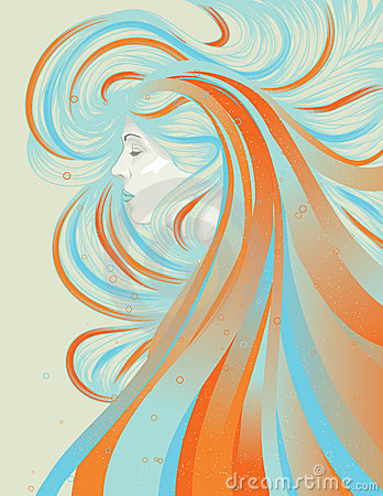 Profile of beautiful woman with abstract flowing h