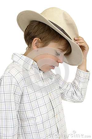 Profile of boy with cowboy hat