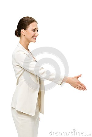 Profile of business woman handshaking